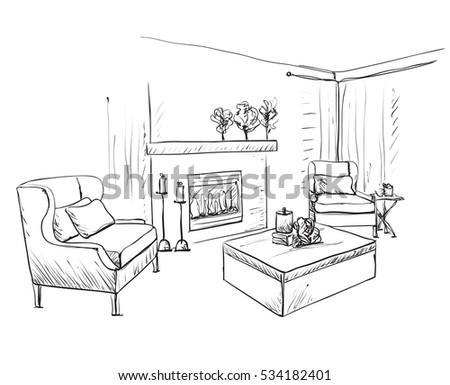 Hand Drawn Room Interior Sketch Sofa Stock Vector