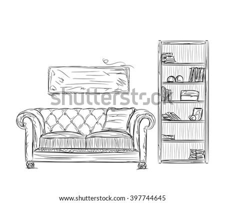 Modern interior room sketch. Hand drawn furniture - stock vector