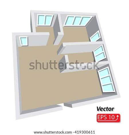 Modern isometric cottage interior. Isometric open plan house, apartment , part of architectural project Floorplan House Home Building Architecture Blueprint Layout plan. 3d illustration EPS10 vector - stock vector