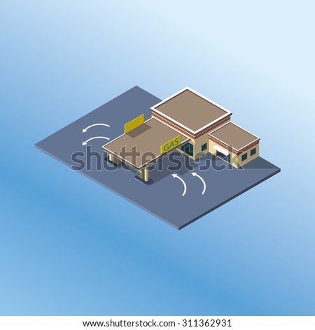 Modern isometric GAS Petrol Service Station . Gas station icon - stock vector