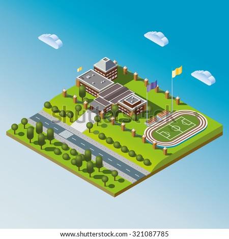 Modern isometric school or university building illustration. Set of building, street and stadium illustrations. Isometric city illustration. Isometric icon. Isometric building vector icon. 3d vector. - stock vector