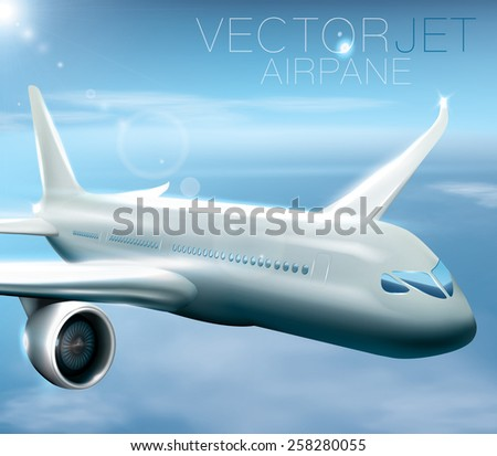 Modern jet airplane during the flight. Vector composition, easy to put text or any other element behind the plane or transparent clouds.