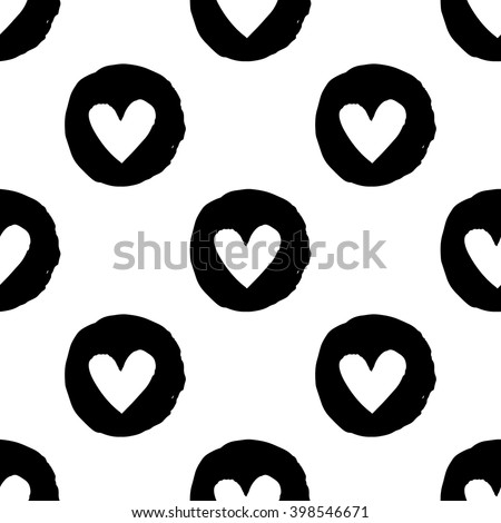 Modern kids b&w seamless pattern with circle heart. Hand drawn graphic with black cute minimalistic scandinavian cartoon elements on white background - stock vector