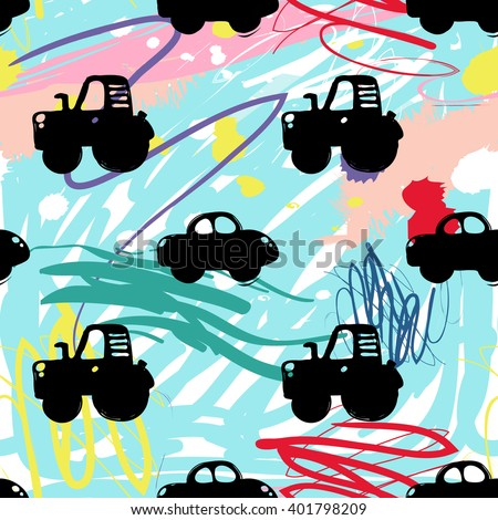 Modern kids seamless pattern with car and tractor. Hand drawn graphic with cute minimalistic scandinavian cartoon elements on color artistic watercolor background - stock vector