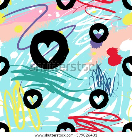 Modern kids seamless pattern with circle heart. Hand drawn graphic with cute minimalistic scandinavian cartoon elements on color artistic watercolor background - stock vector