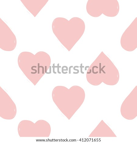 Modern kids soft colored seamless pattern with heart. Hand drawn graphic with tender cute minimalistic scandinavian cartoon elements isolated on white background - stock vector