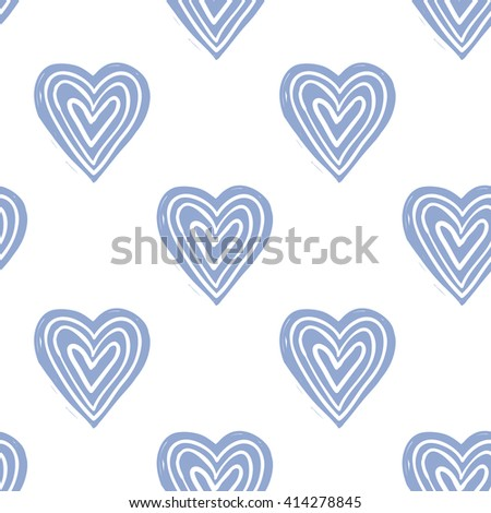 Modern kids soft colored seamless pattern with line heart. Hand drawn graphic with tender cute minimalistic scandinavian cartoon elements isolated on white background - stock vector