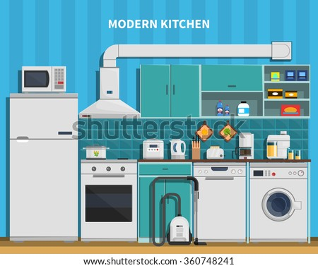 modern kitchen background with home appliances flat vector illustration