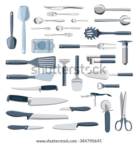 Modern kitchen equipment and cutlery vector collection isolated on white - stock vector