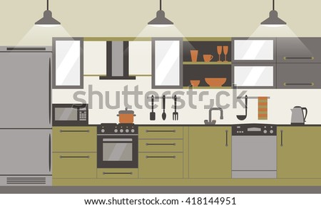 Modern kitchen interior flat design  with home furniture and kitchenware. Front view. Vector illustration.