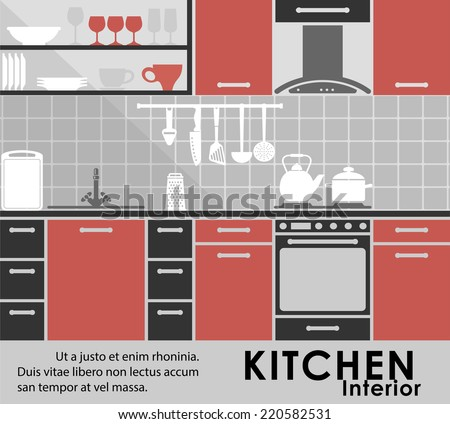 Modern kitchen interior in flat style showing a modern kitchen with fitted appliances and cabinets, assorted utensils, kitchenware on the counter and on shelves with copyspace - stock vector