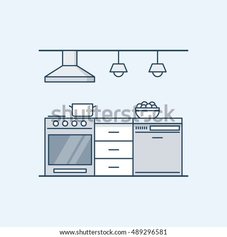 Modern kitchen interior with gas stove and dishwasher. Built-in appliances. Vector illustration in a linear style, isolated on a gray background.