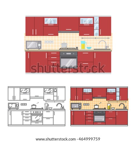 Modern Kitchen Wall Interior. For Web Design, Banner, Flyer, Mobile And  Application