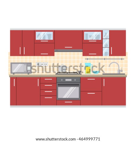 Modern kitchen wall interior. For web design, banner, flyer, mobile and application interface, also useful for infographics. Flat style vector illustration isolated on white background.