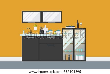 Modern kitchen with sideboard, cupboard, equipment. Creative concept Hi-tech interior with comfort furniture. Flat design icons set, minimalist style. Vector illustration - 10 EPS - for your project - stock vector
