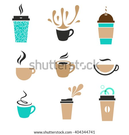 Modern label coffee set.  Disposable paper cup, classic espresso, foam, steam and splashes. - stock vector