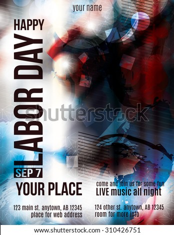 Modern Labor Day Celebration grunge flyer template - stock vector