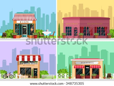Modern landscape set with cafe, restaurant, pizzeria, coffee house building, trees, bushes, flowers, benches, restaurant tables. Flat style vector illustration. - stock vector
