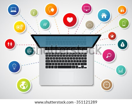 Modern laptop with media icons and symbols - stock vector