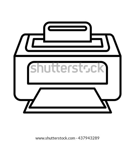 Modern laser printer icon, outline style - stock vector