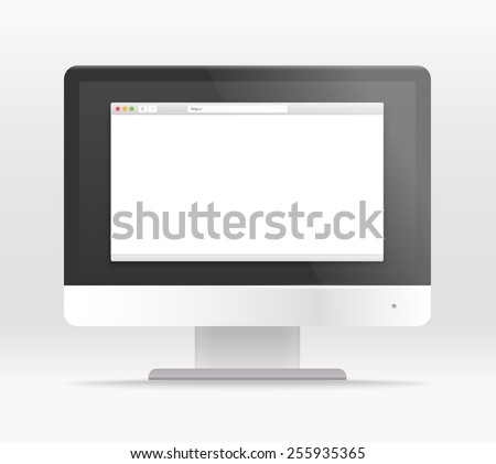 Modern lcd monitor template with the browser window. Paste your content into the screen - stock vector