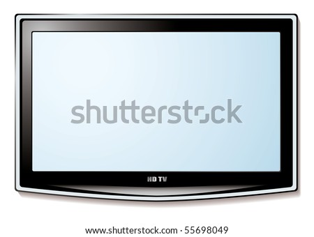 Modern LCD television technology concept with white blank screen - stock vector