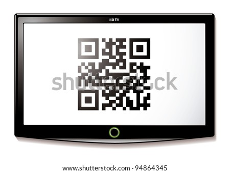 Modern LCD TV with Qr code to scan for identification - stock vector