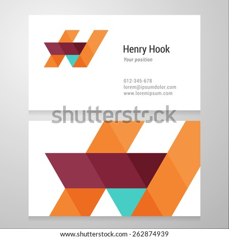 Modern letter H Business card template. Vector design. Layered, editable. - stock vector