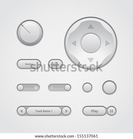 Modern Light UI Controls Web Design Software Elements: Buttons, Switchers, Audio, Video, Joystick, Volume, Knob, Power, Arrows. Vector User Interface EPS10  - stock vector