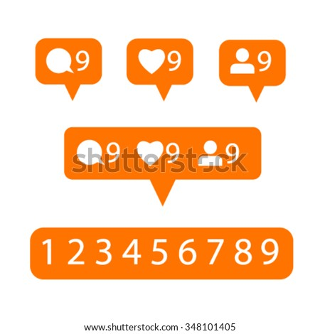 modern like, follower, comment icons on white background - stock vector