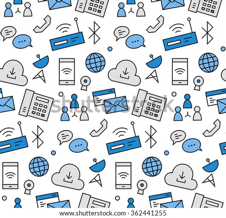 Modern line icons seamless pattern texture of internet communication, computer network connection, cloud data hosting. Flat design graphic, perfect for web background or print wrapping decoration.  - stock vector