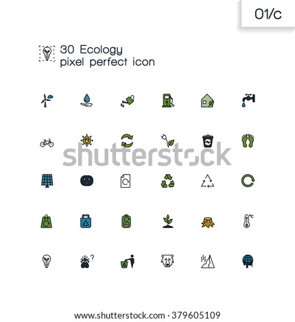 Modern line icons with flat design elements. Pixel perfect icons set. Ecology and recycle  symbol collection. Simple linear pictogram pack.  - stock vector