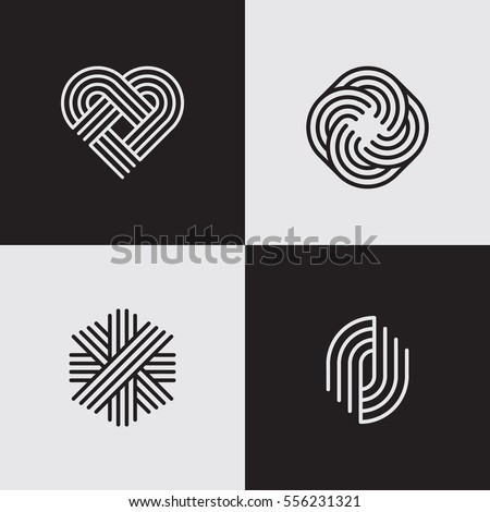 Modern line logos. Cool geometric forms. Eps10 vector.
