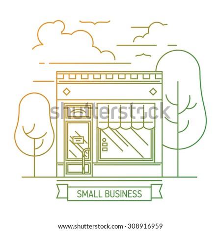 Modern linear small shop mini market store facade illustration. Thin line web banner template or graphic design element on small business entrepreneurship - stock vector
