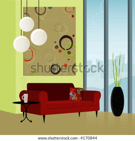 Modern living room; colorful and stylized. Each item is grouped so you can use them independently from the background. Easy-edit layered file. - stock vector