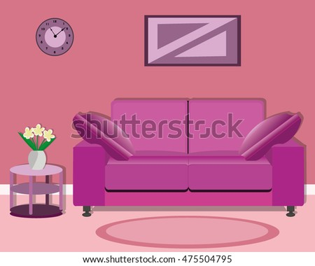 Modern  living room design with a bright sofa, table , picture and clock. Flat style vector illustration.