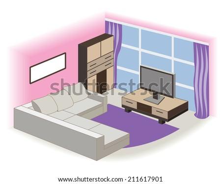 modern living room interior (vector illustration) - stock vector