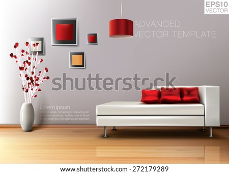Modern living room with white leather sofa and red pillows. High quality vector template - stock vector