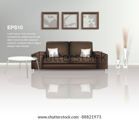 Modern Living Space with Brown Sofa (EPS10) - stock vector