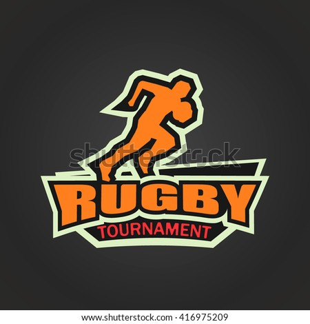 Modern logo for rugby tournament. Rugby player. Rugby event - stock vector
