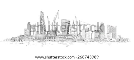 Modern London. City of London and Canary Wharf with crane and building sites of new developments - stock vector