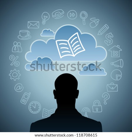 modern man in the global computer network. - stock vector