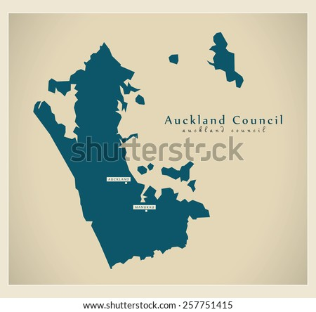 Modern Map - Auckland Council NZ - stock vector