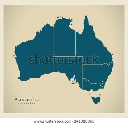 Modern Map - Australia with states AU - stock vector