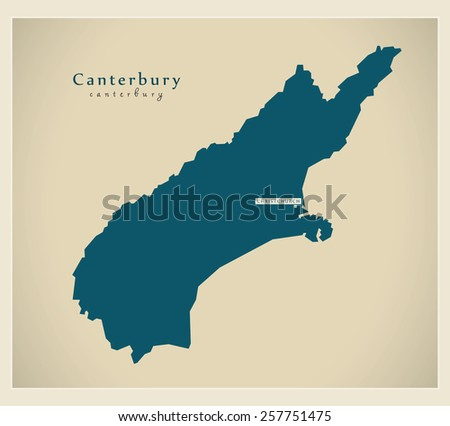 Modern Map - Canterbury NZ - stock vector