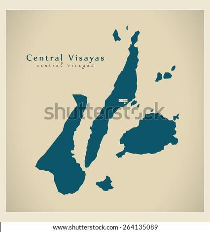 Modern Map - Central Visayas PH - stock vector