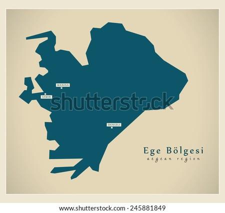 Modern Map - Ege TR - stock vector