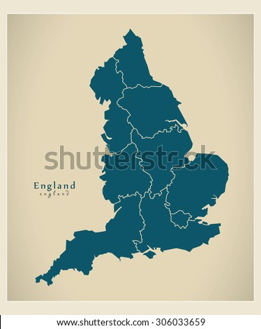 Modern Map - England UK [corrected Version] - stock vector