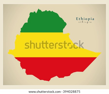 Modern Map - Ethiopia flag colored ET - stock vector