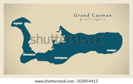 Modern Map - Grand Cayman KY - stock vector
